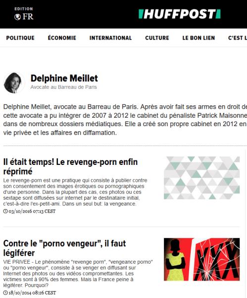 Delphine Meillet tribunes sur le porno vengeur revenge porn dans le Huffington Post