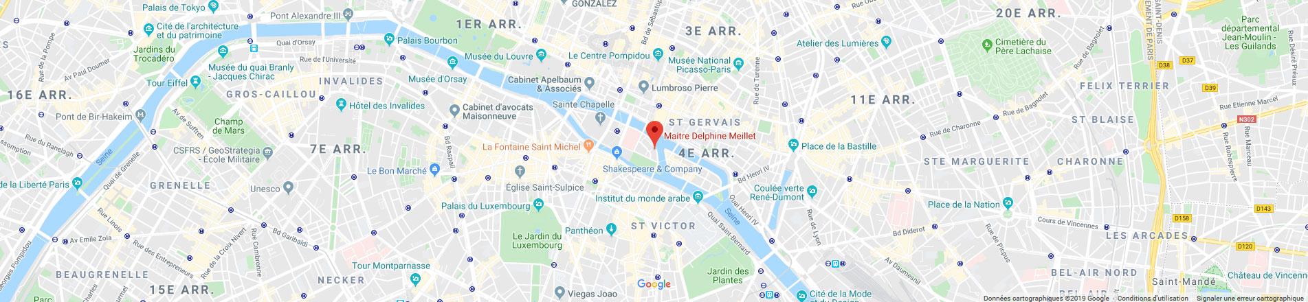 Google Map - Cabinet Meillet - 7 quai aux Fleurs Paris